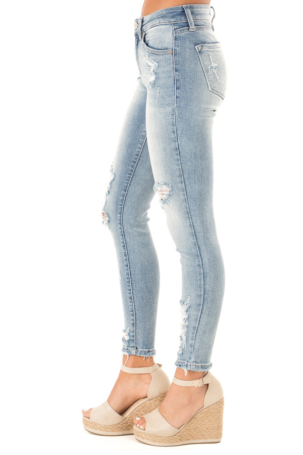 Light Wash Distressed Mid Rise Skinny Jeans side view