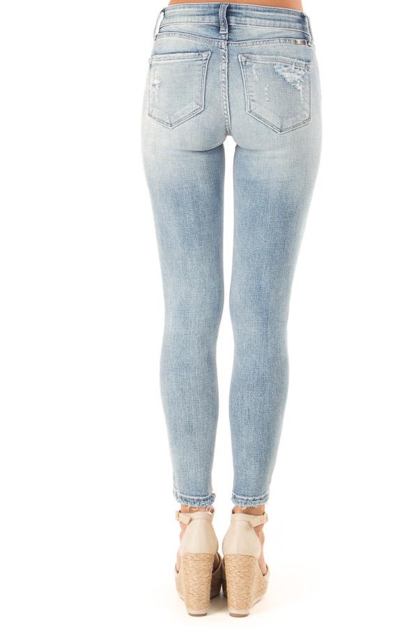 Light Wash Distressed Mid Rise Skinny Jeans back view