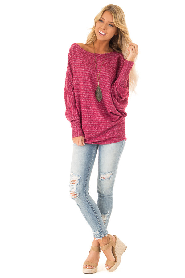 ... Magenta Brushed Ribbed Knit Top with Long Dolman Sleeves front full  body ... 4562f4991