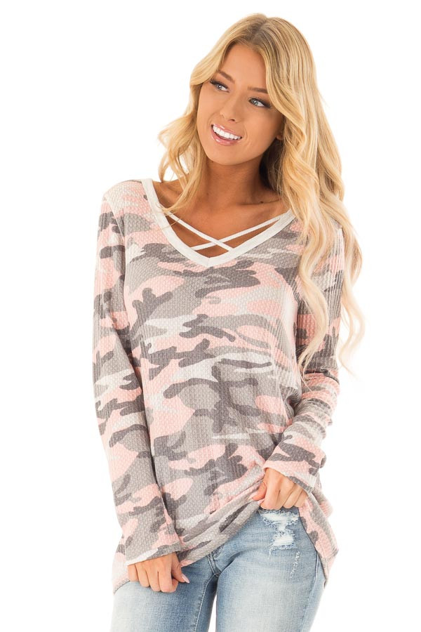 Blush Camo Print Long Sleeve Top with Criss Cross Detail front close up