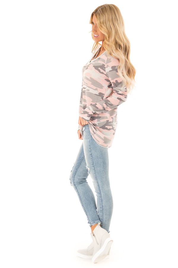 Blush Camo Print Long Sleeve Top with Criss Cross Detail side full body