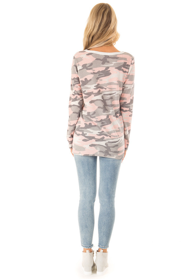 Blush Camo Print Long Sleeve Top with Criss Cross Detail back full body