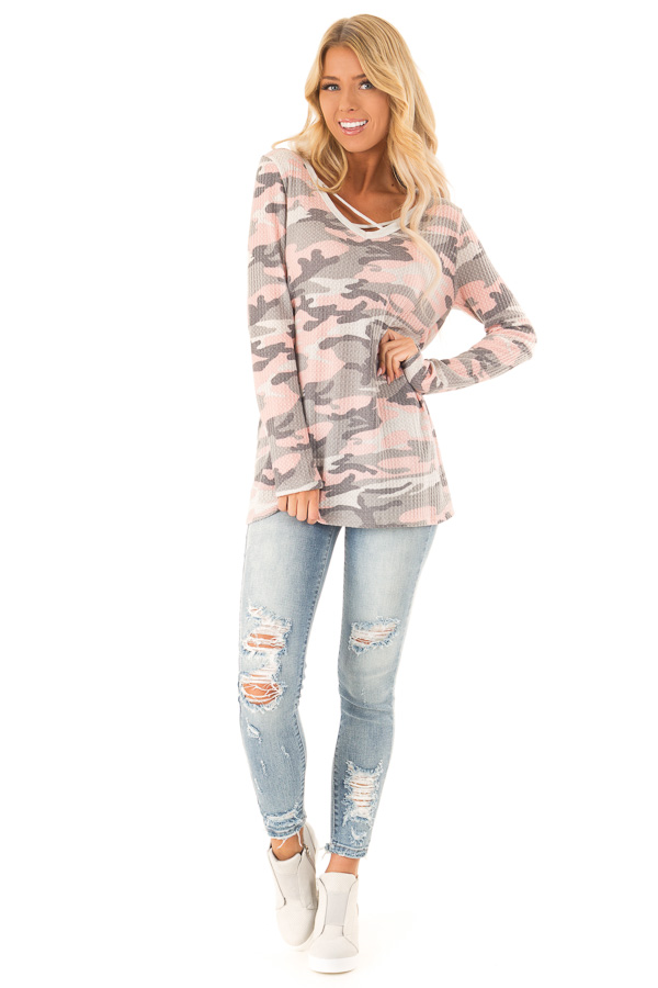 Blush Camo Print Long Sleeve Top with Criss Cross Detail front full body