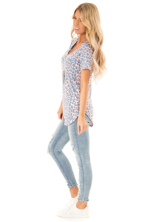 Dusty Blue and Rust Leopard Print V Neck Top with Side Slits side full body