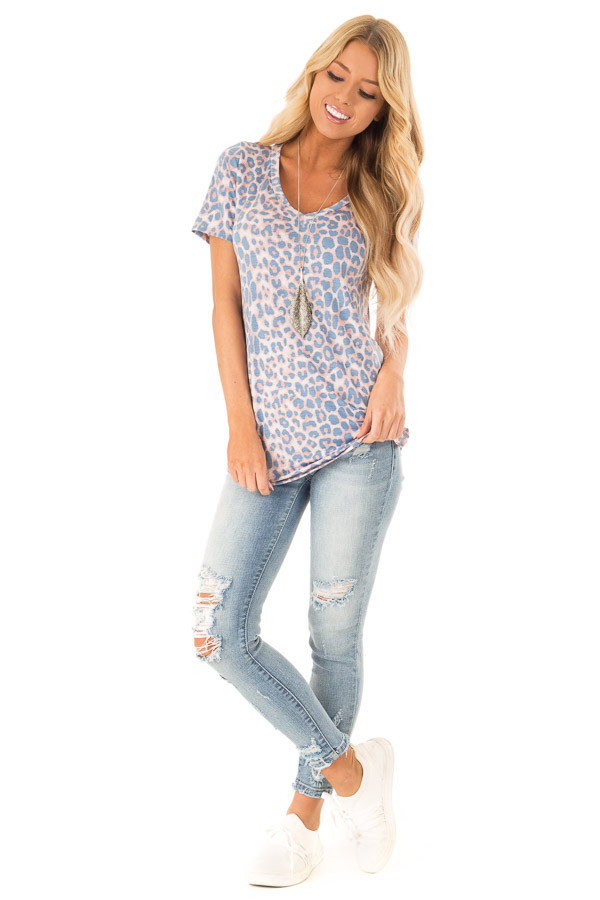 Dusty Blue and Rust Leopard Print V Neck Top with Side Slits front full body