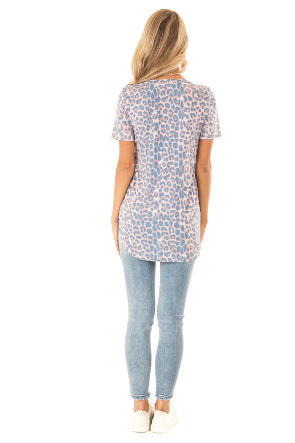Dusty Blue and Rust Leopard Print V Neck Top with Side Slits back full body