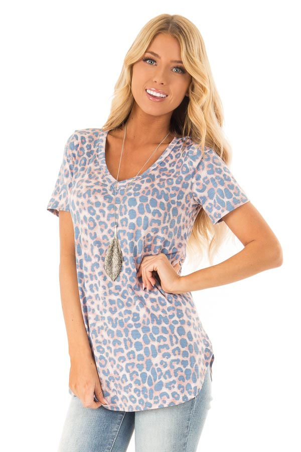 Dusty Blue and Rust Leopard Print V Neck Top with Side Slits front close up