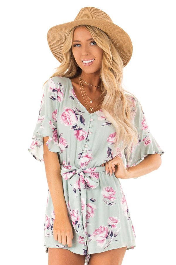 683a8a9d7348 Mint and Orchid Floral Print Button Up Romper with Waist Tie front close up