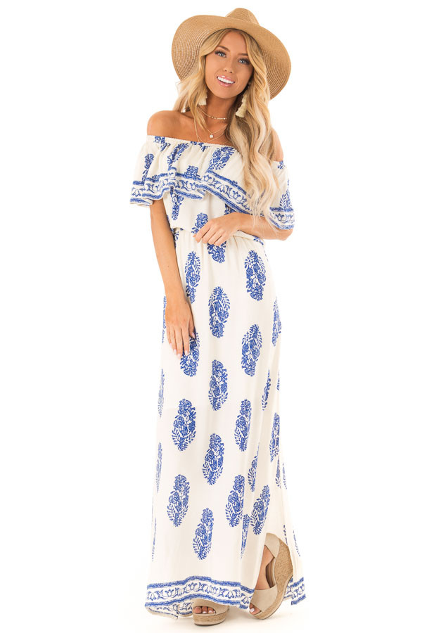 04fb7a0ac60 Off White Off the Shoulder Maxi Dress with Royal Blue Print front full body  ...