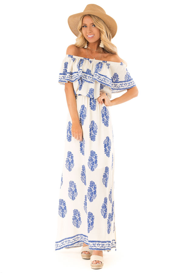 63a5b853dd4 ... Off White Off the Shoulder Maxi Dress with Royal Blue Print front full  body ...