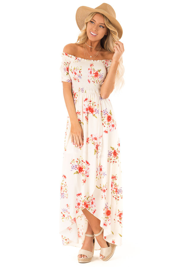 Off White Floral Smocked Off the Shoulder High Low Dress front full body