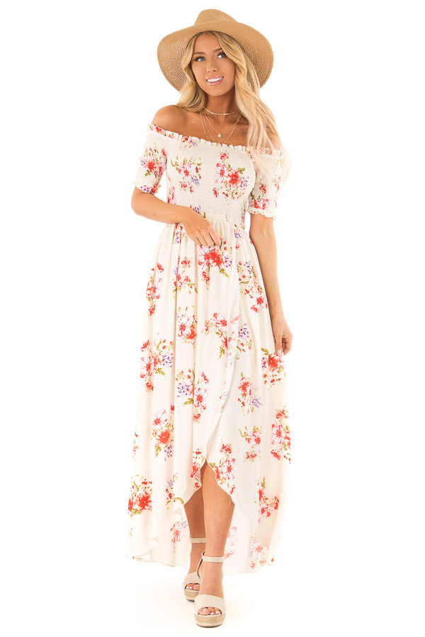 4fb6f789293 ... Off White Floral Smocked Off the Shoulder High Low Dress front full  body ...