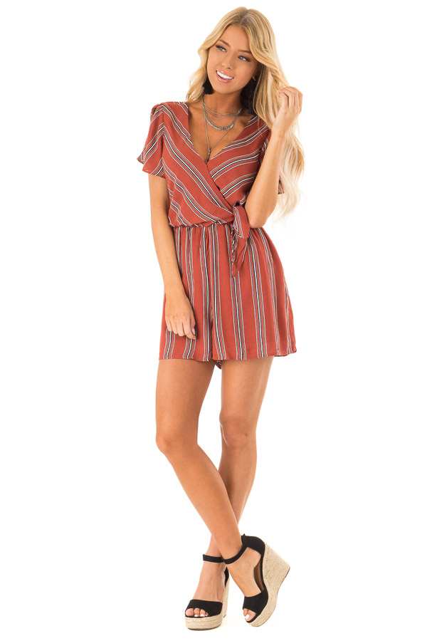 c194c04422da Rust Striped Surplice Short Sleeve Romper with Waist Tie front full body ...