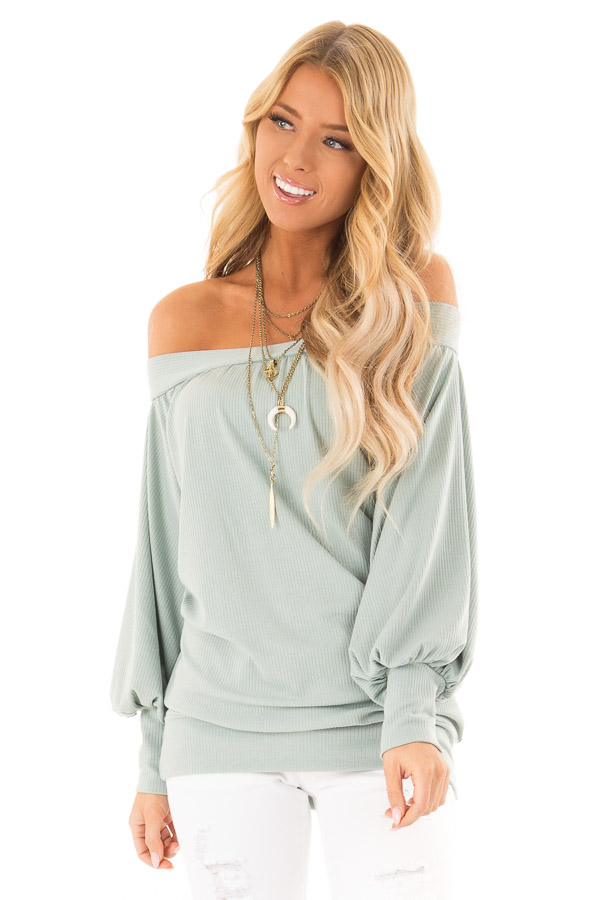 Mint Off the Shoulder Top with Long Balloon Sleeves front close up