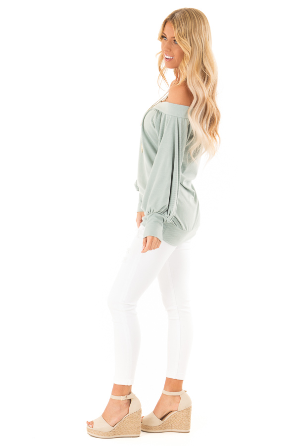 Mint Off the Shoulder Top with Long Balloon Sleeves side full body