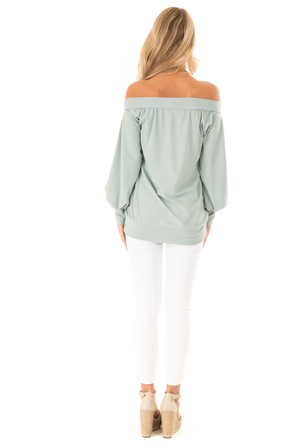 Mint Off the Shoulder Top with Long Balloon Sleeves back full body