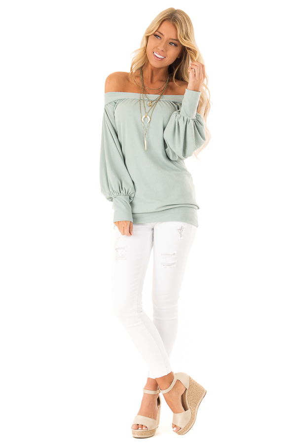 Mint Off the Shoulder Top with Long Balloon Sleeves front full body