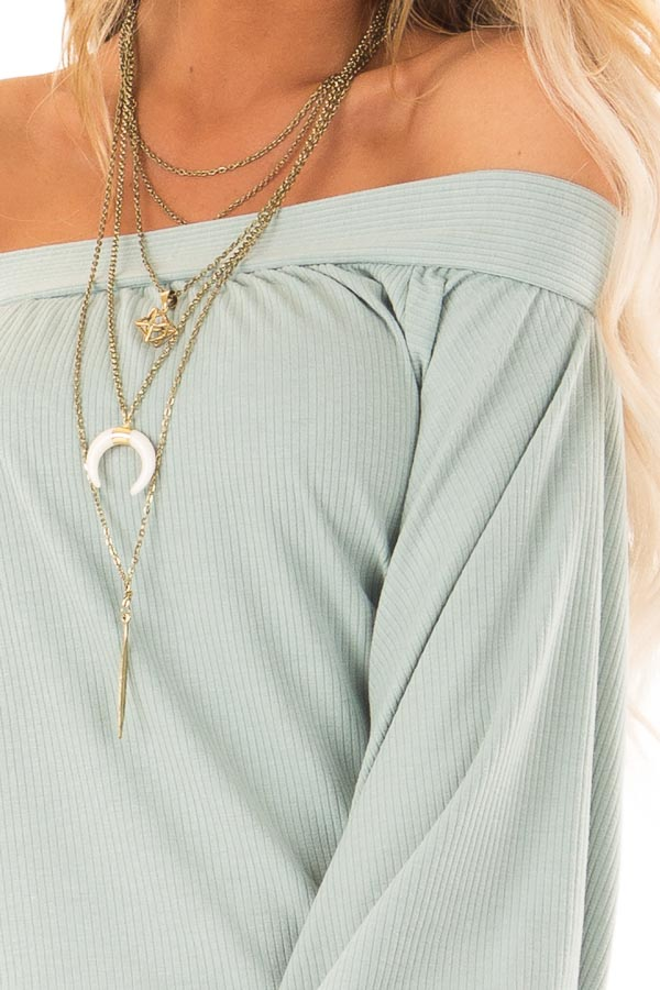 Mint Off the Shoulder Top with Long Balloon Sleeves detail