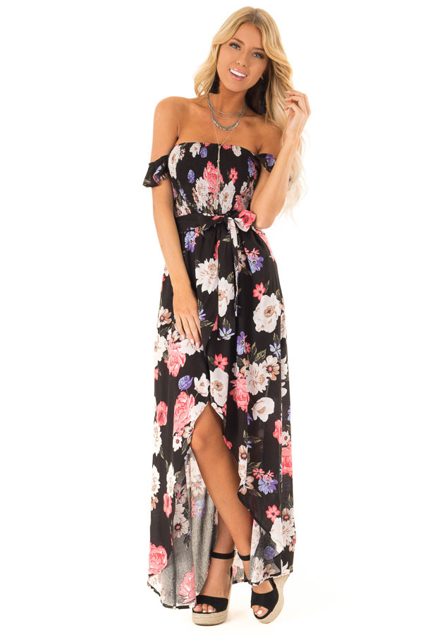 7b51b32e465 Black Floral Off Shoulder Maxi Dress with Crossover Detail front full body