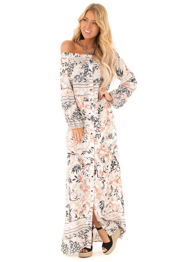 25d684c0dd59 ... Multicolor Floral Off the Shoulder Long Sleeve Maxi Dress front full  body ...