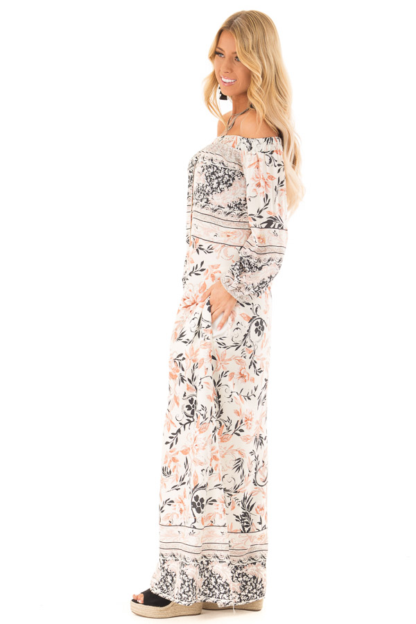 0abbbdeef88 ... Multicolor Floral Off the Shoulder Long Sleeve Maxi Dress side full  body ...