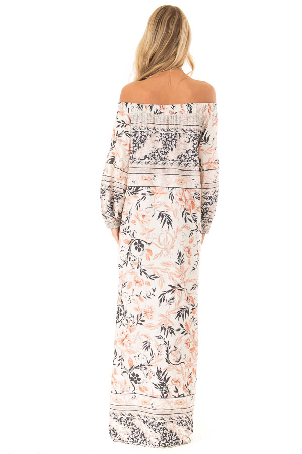 5687db00371 ... Multicolor Floral Off the Shoulder Long Sleeve Maxi Dress back full  body ...