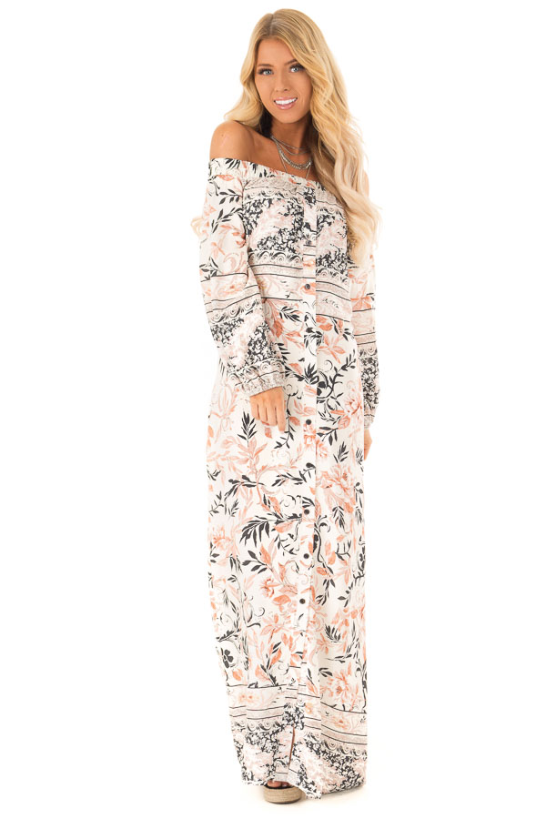 24fcd16f097 ... Multicolor Floral Off the Shoulder Long Sleeve Maxi Dress front full  body ...