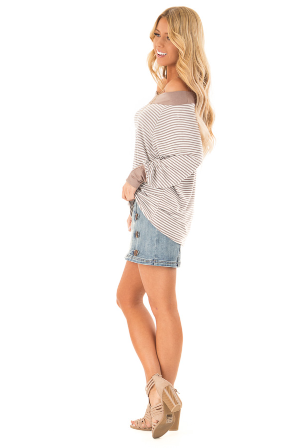 Mocha and Ivory Striped Off the Shoulder Long Sleeve Top side full body