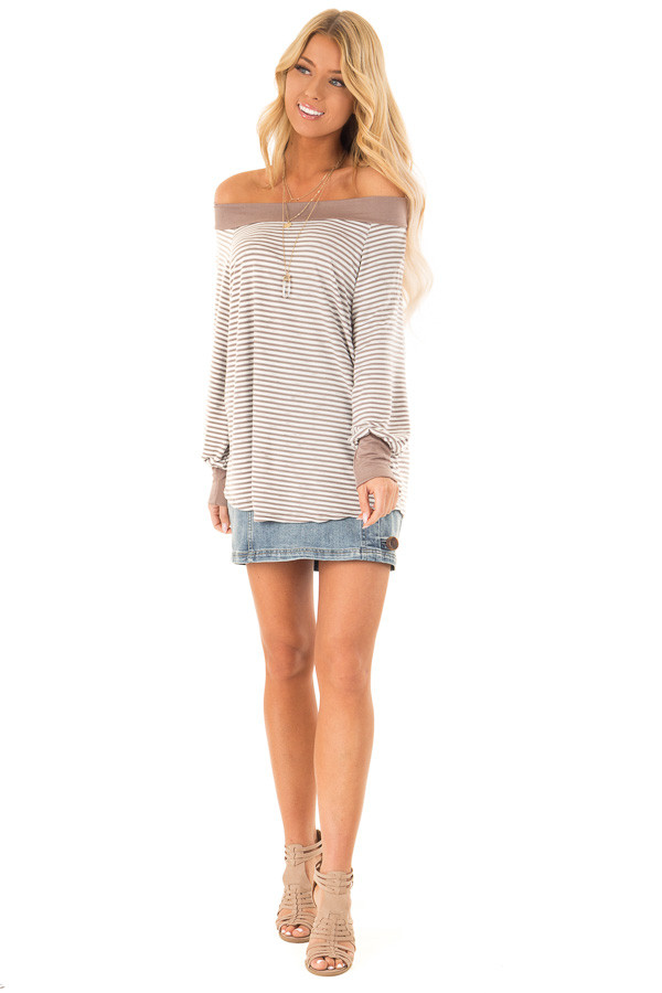 31747fe8725 ... Mocha and Ivory Striped Off the Shoulder Long Sleeve Top front full  body ...