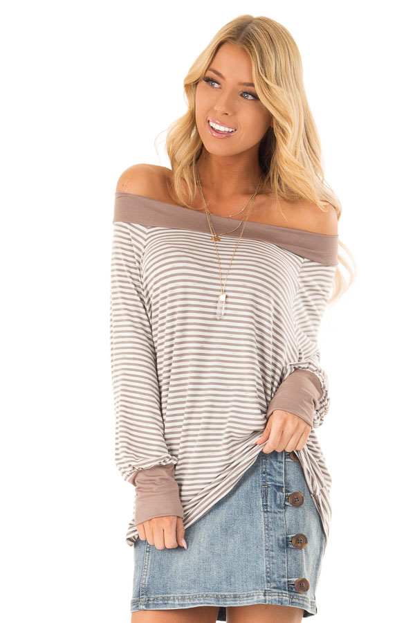 Mocha and Ivory Striped Off the Shoulder Long Sleeve Top front close up
