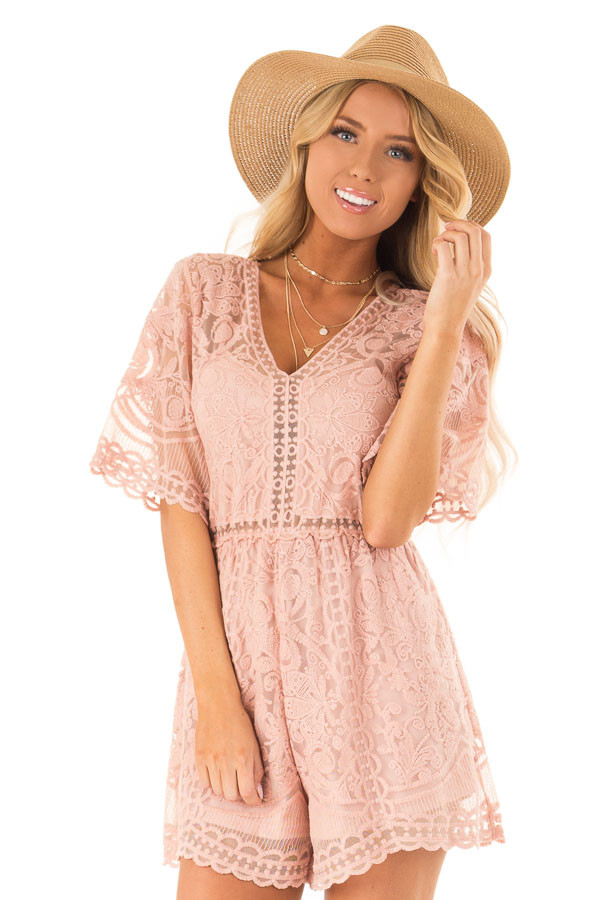Dusty Blush Lace Romper with Back Keyhole Detail front close up