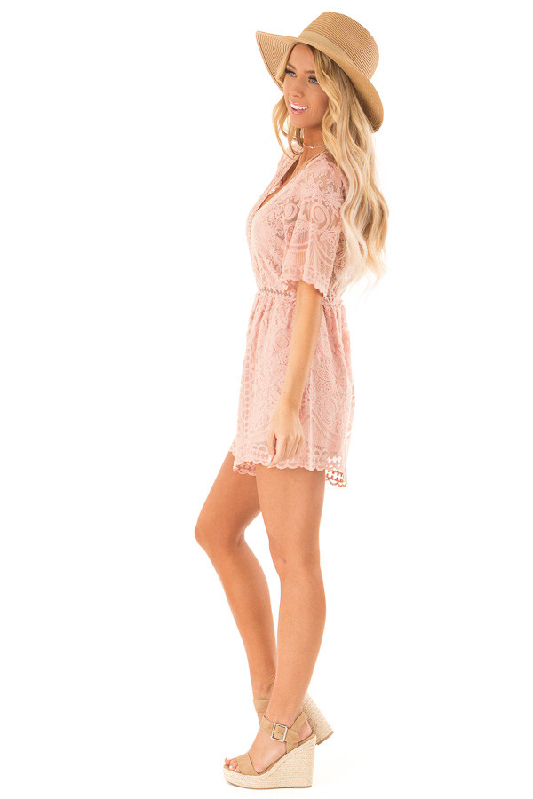 Dusty Blush Lace Romper with Back Keyhole Detail side full body