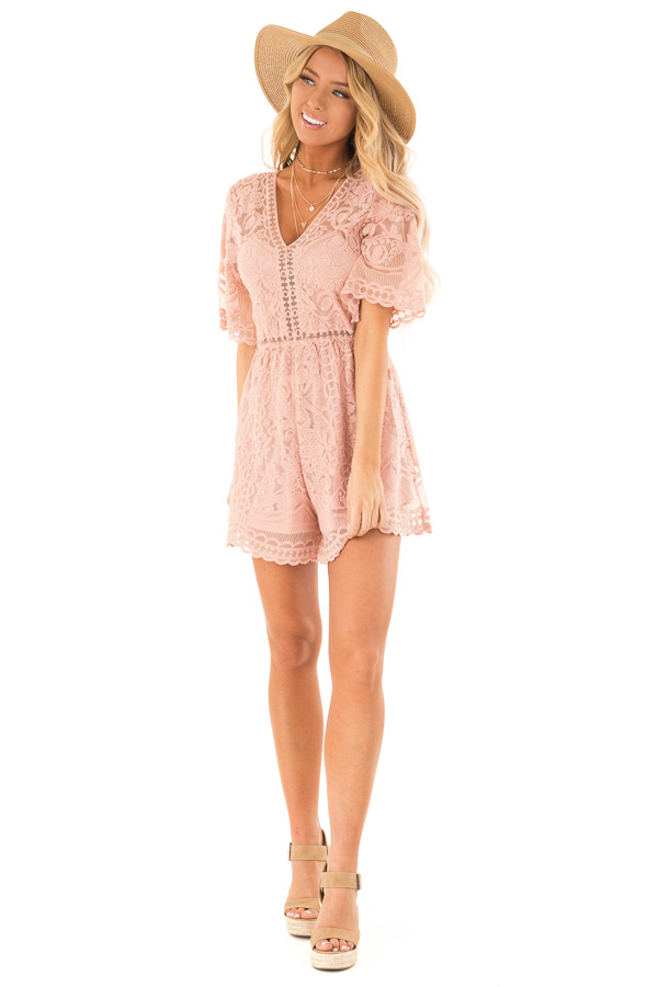 Dusty Blush Lace Romper with Back Keyhole Detail front full body