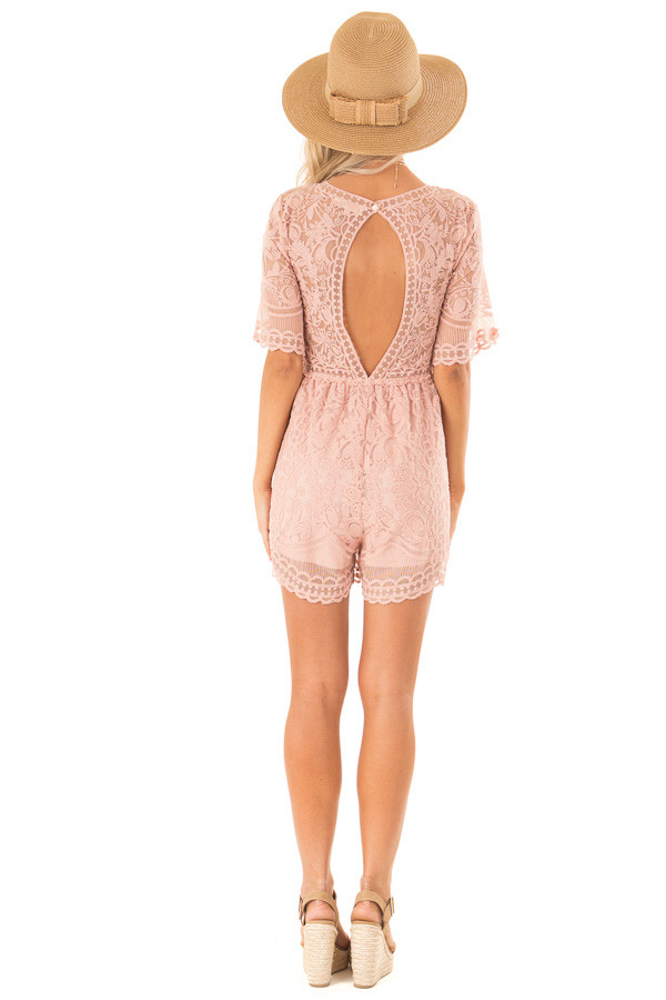 Dusty Blush Lace Romper with Back Keyhole Detail back full body