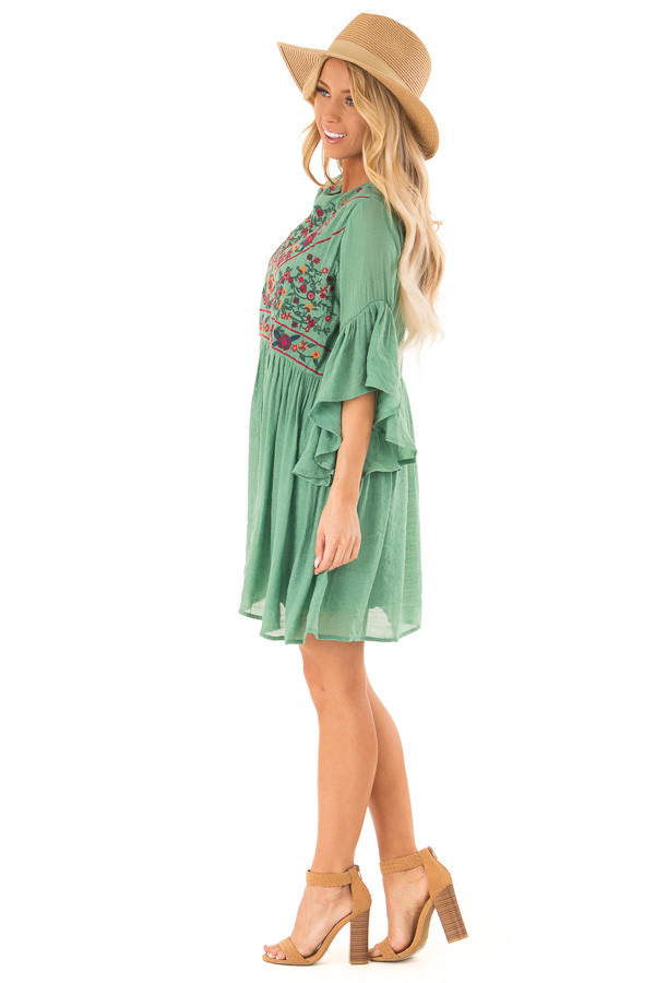 225bdac3ef14 Fern Green Dress with Floral Embroidery and 3/4 Bell Sleeve side full body