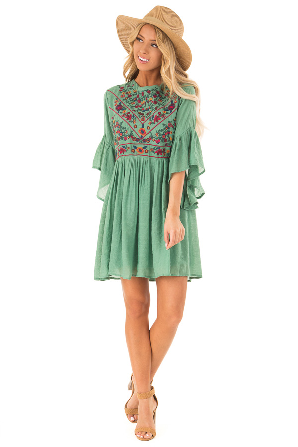 Fern Green Dress with Floral Embroidery and 3/4 Bell Sleeve front full body
