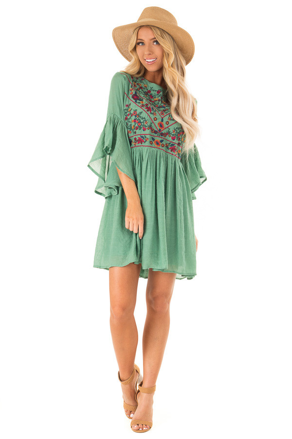 dd7e49f4f447 Fern Green Dress with Floral Embroidery and 3/4 Bell Sleeve front full body