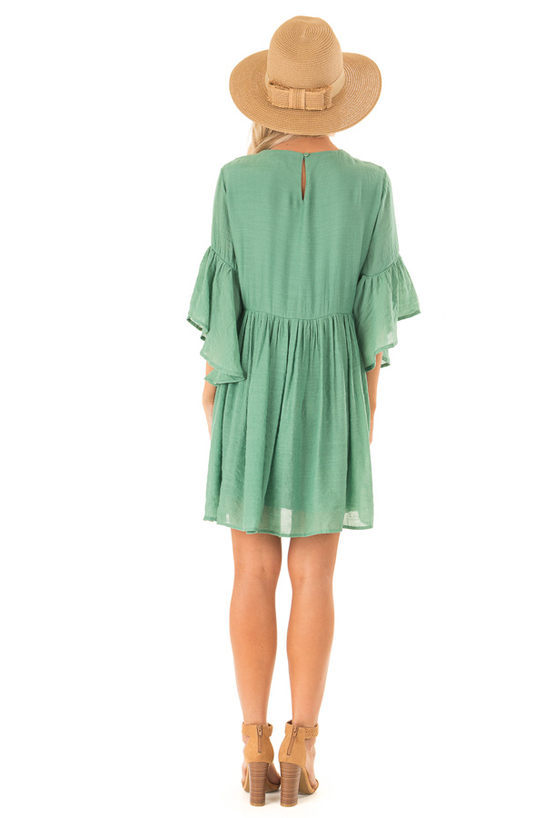 Fern Green Dress with Floral Embroidery and 3/4 Bell Sleeve back full body