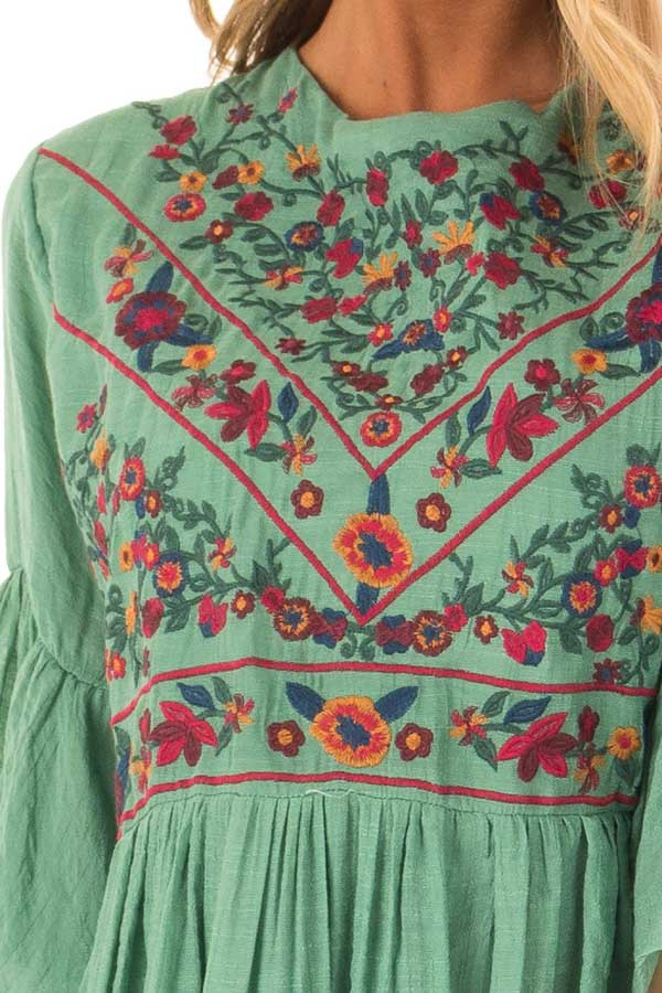 4474286dca94 Fern Green Dress with Floral Embroidery and 3/4 Bell Sleeve - Lime ...