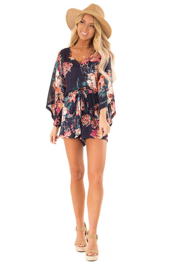 Navy Floral Surplice Romper with Waist Tie front full body