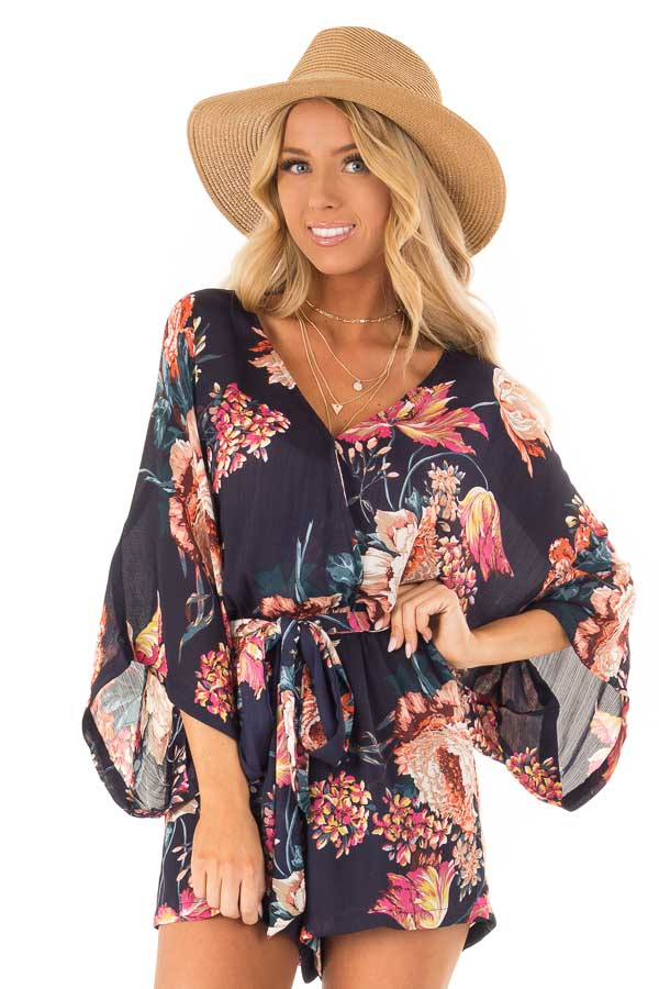 Navy Floral Surplice Romper with Waist Tie front close up