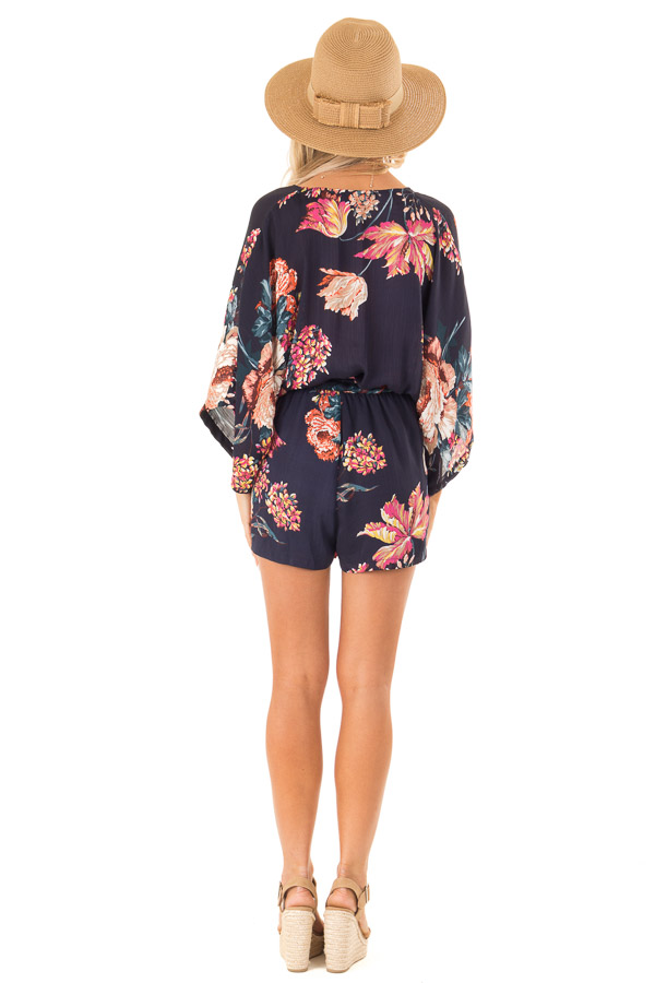 Navy Floral Surplice Romper with Waist Tie back full body