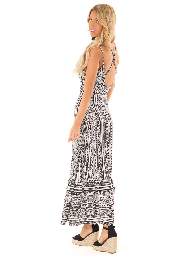 Black and Ivory Geometric Print Button Up Maxi Dress side full body