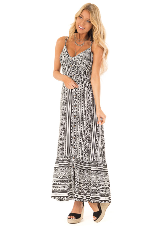 Black and Ivory Geometric Print Button Up Maxi Dress front full body