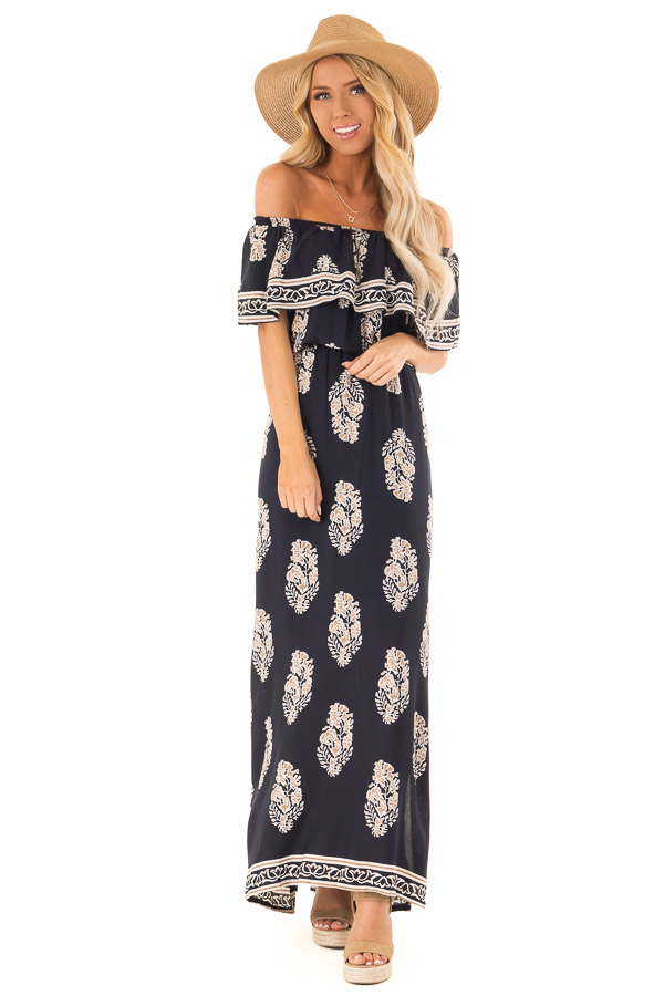 e4f709c3341 Midnight Blue Off Shoulder Maxi Dress with Taupe Pattern - Lime Lush ...