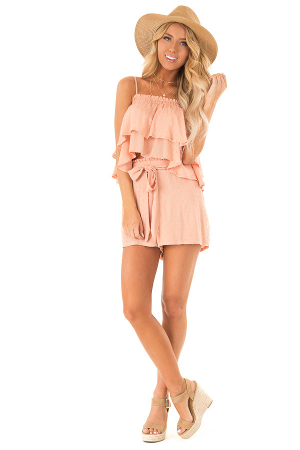 1470d026ff3df Peach Swiss Dot Ruffle Tank Top and Shorts Two Piece Set front full body ...