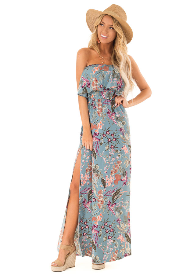 dcaa9c9f7f9 Dusty Blue Floral Print Strapless Maxi Dress with Side Slits front full body