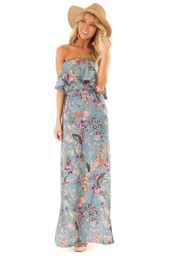 4fcc1cde14 ... Dusty Blue Floral Print Strapless Maxi Dress with Side Slits front full  body ...