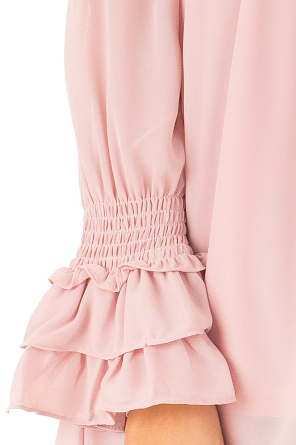 Dusty Blush Off the Shoulder Top with Smocked Detail detail
