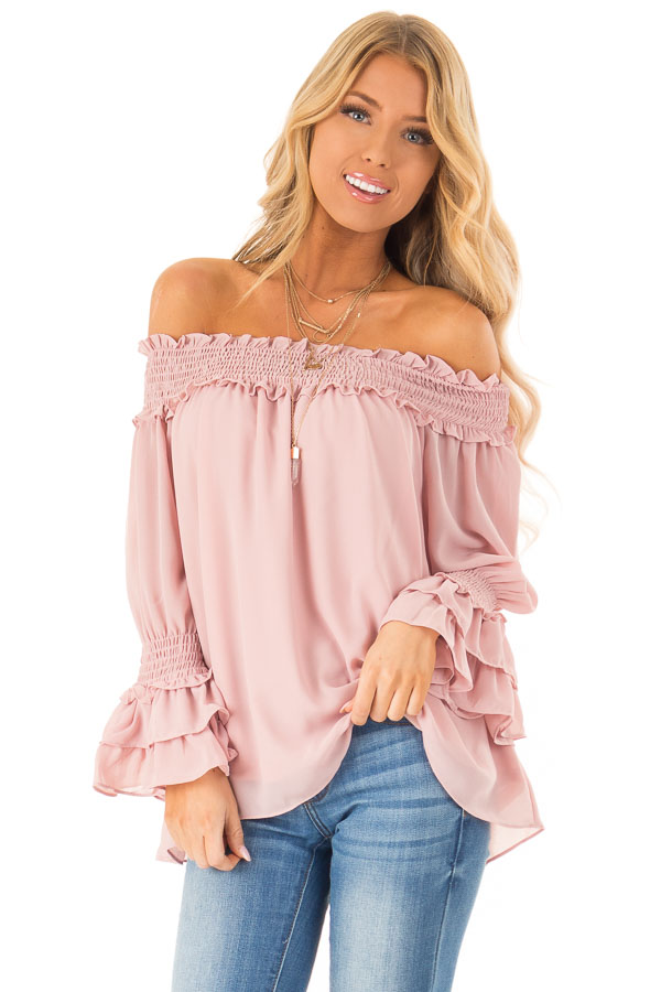 Dusty Blush Off the Shoulder Top with Smocked Detail front close up